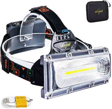 LETOUR High Lumen Rechargeable Headlamp