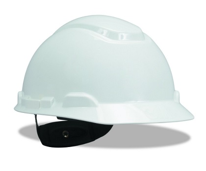 3M Hard Hat, White 4-Point Ratchet Suspension H-701R