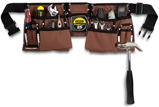 11 Pocket Brown and Black Heavy-Duty Construction Tool Belt