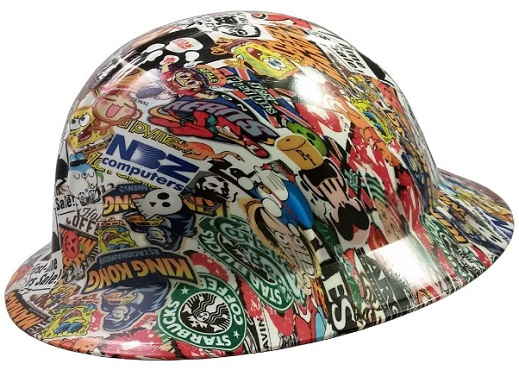 Sticker Bomb 4 Design Hydro Dip Hard Hat Full Brim