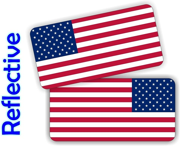 (Pair) REFLECTIVE American Flags Hard Hat Stickers