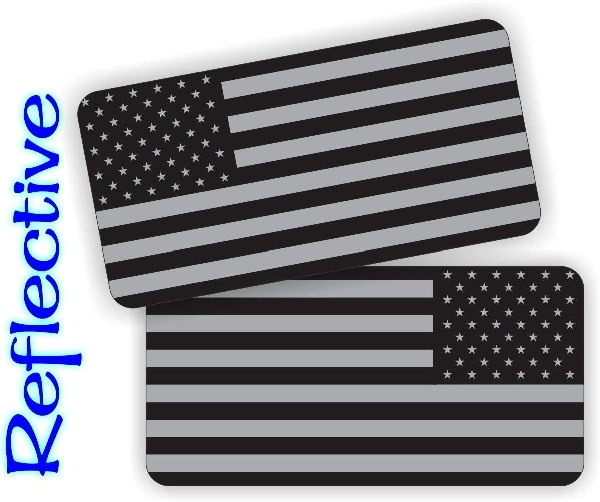 Pair - REFLECTIVE Stealthy American Flag Stickers