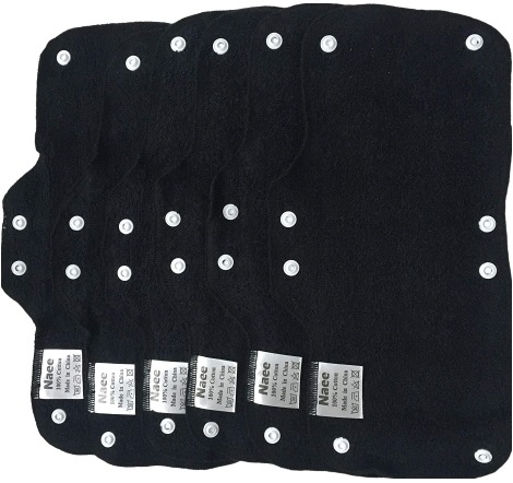 NAEE Black Sweatbands Liners Washable Terry cotton snap