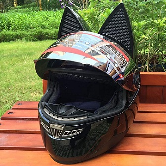 Personality Cat Ears Angled Full Face Modular Motorcycle Helmet