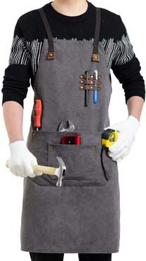 Flipzon Work Apron for Men Women Heavy Duty Canvas Leather Mens Apron