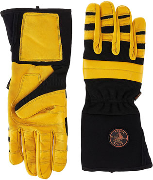 Klein Tools 40082 Lineman Work Gloves, Large, Yellow type of gloves to protect yourself from electrical sparks