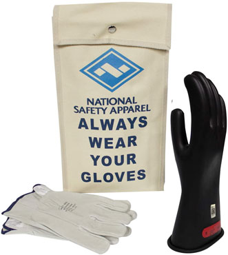 National Safety Apparel Class 0 Black Rubber Voltage Insulating Glove Kit with Leather Protectors
