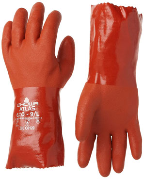 Showa-620-09 atlas 620 fully coated double dipped PVC glove To Protects Hands From Hazardous Chemicals